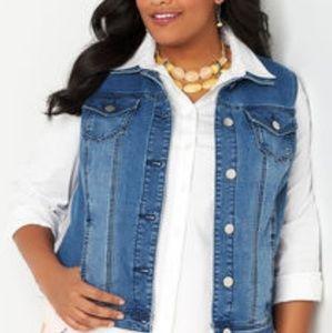 Denim vest with lace back